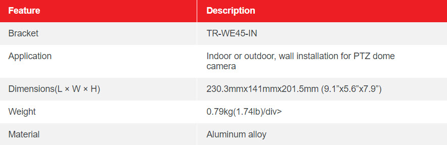 Table TR WE45 IN PTZ DOME WALL MOUNT