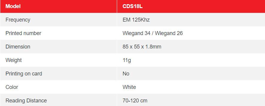 CDS18L – EM LONG RANGE PROXIMITY CARD