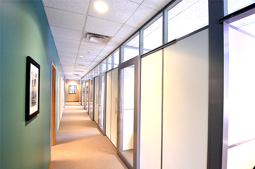 solid wall panel offices with glass clerestory flex series demountable wall partitions