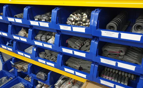 Picture of a rack full of spare parts New